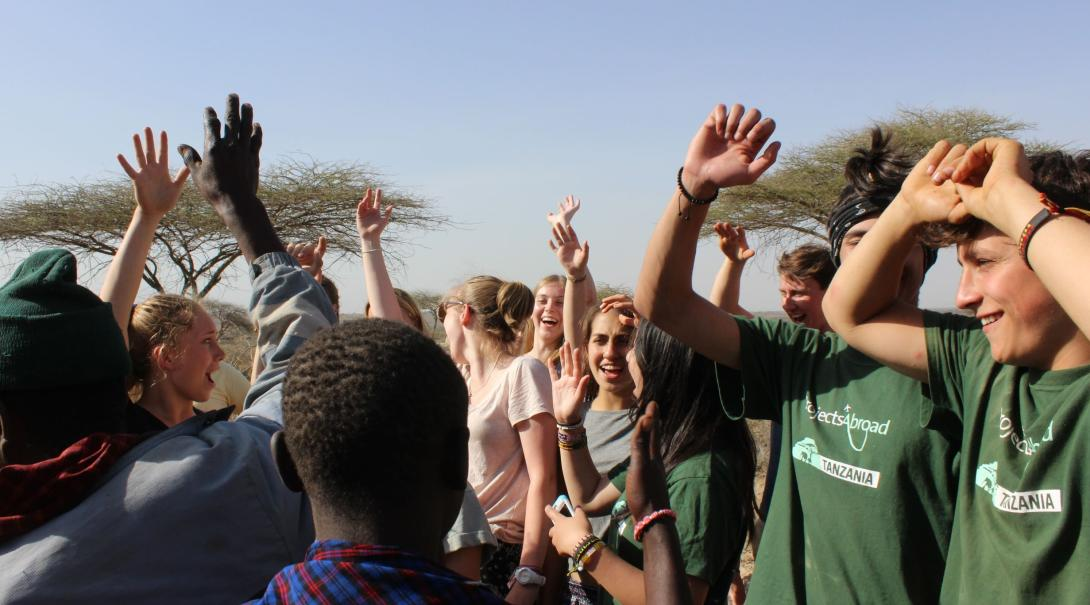 Projects Abroad volunteers meet up with the local community in Tanzania.